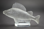 Rene Lalique Perche mascot clear with grey staining