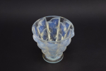 Lalique opalescent footed Moissac vase
