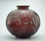 Rene Lalique red poissons vase