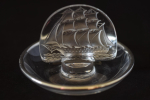 Rene Lalique clear glass caravelle ashtray with silver rim