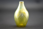 Tiffany Favrille glass miniature pulled feather vase
