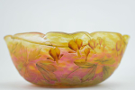 Daum Cameo glass bleeding hearts bowl