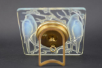 Rene lalique opalescent Inseparables clock with painted dial