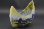 Galle cameo glass crescent shaped aquatic vase