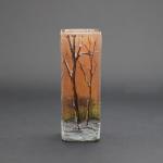 Daum enamelled cameo glass winter scene vase