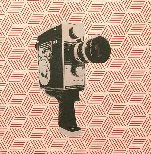 Camera on wood - red