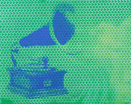 phonograph on green