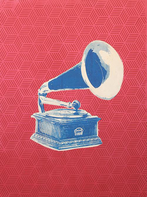 phonograph on pink