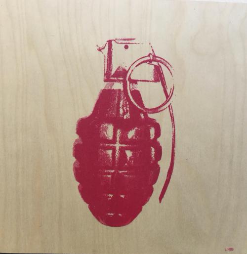 Grenade on wood