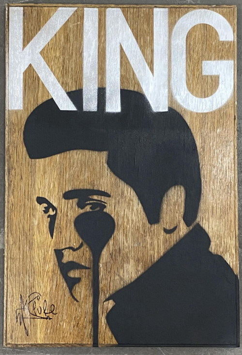 King Elvis - Stencils on wooden board
