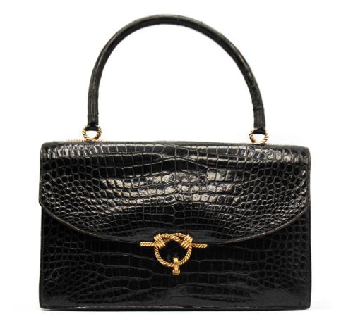Hermes Cordeliere black croco bag