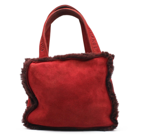Chanel red suede and shearling bag