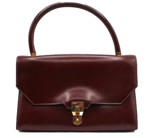 Vintage Hermes Burgundy box leather