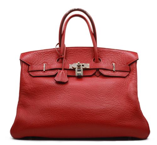 Herme Birkin 35 red Buffle Skipper leather