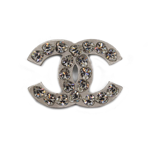 Chanel silver hearth strass brooch