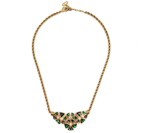 Dior golden neck with green gems