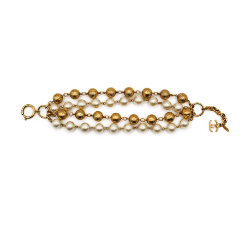 Chanel pearls and gold plated bracelet