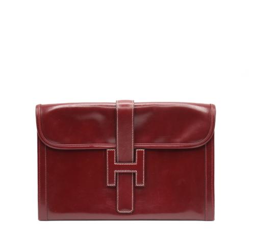 Hermes burgundy jige clutch