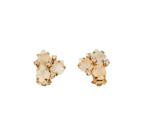 Dior white and golden leaves earrings