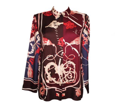 "Hermes purple silk shirt ""Cle et badines"""