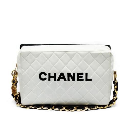 Rare Large  Chanel vintage black and white bag