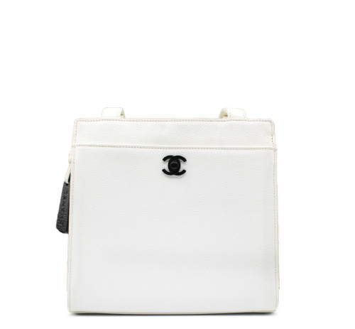 Chanel Top handle white caviar leather bag