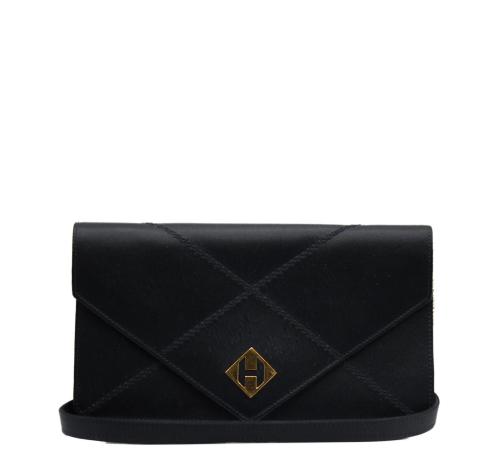 Hermes black silk clutch