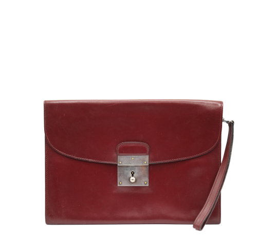 Hermes Burgundy Box Leather Jet clutch