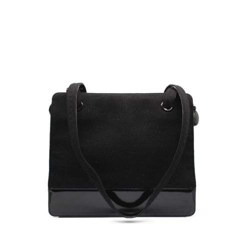 Chanel black jersey and patent leather bag