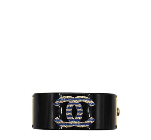 Chanel Black Small black and blue cuff