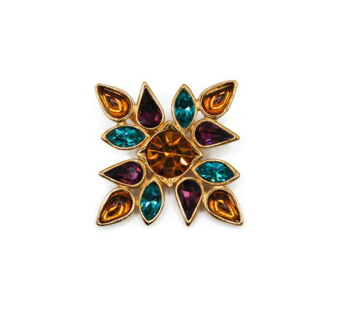 YSL Golden brooch with colored gems
