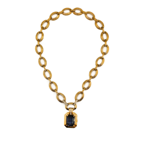 Dior blue stone golden necklace