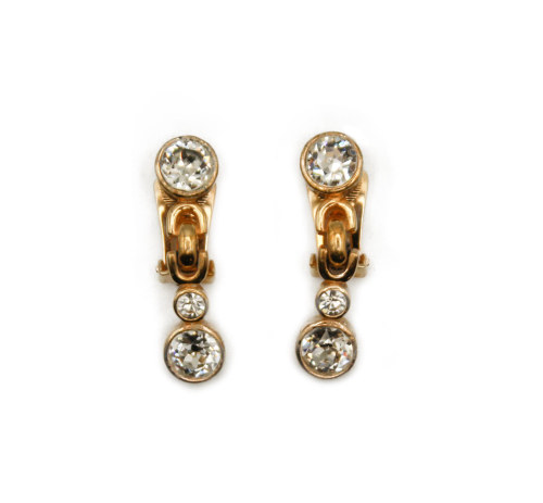Christian Dior triple strass earrings
