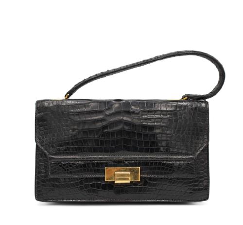 Vintage black croco Hermes bag