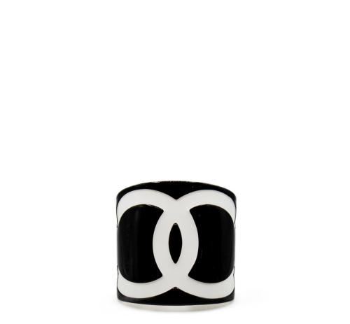 Chanel black plexi cuff