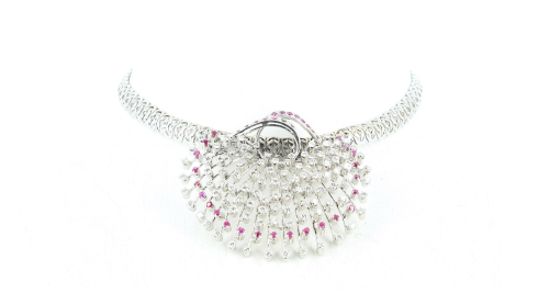 Vintage french white gold necklace