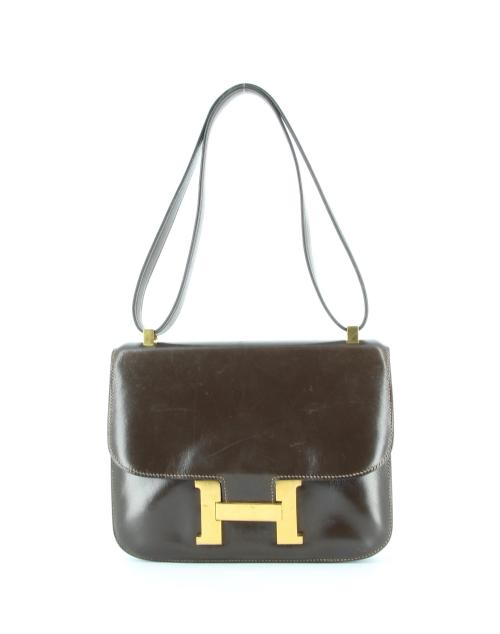 Hermès Brown Box Calf Leather Constance