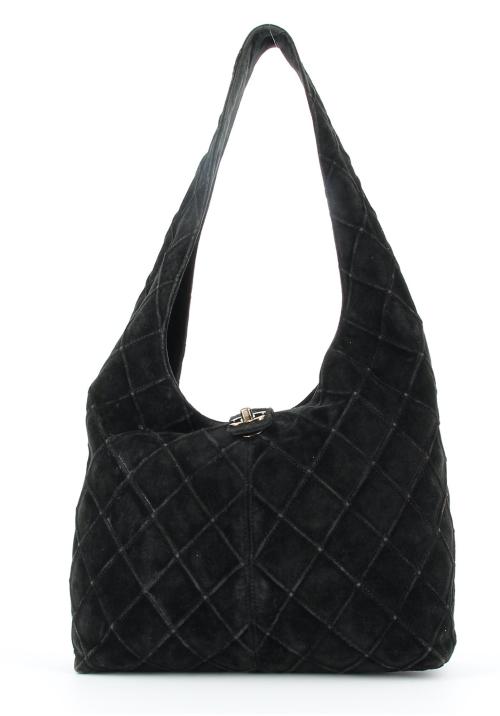 Chanel black suede Hobo bag