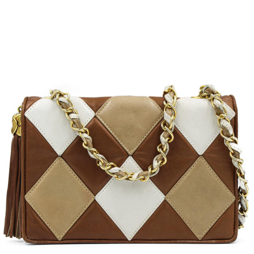 Chanel Arlequin brown leather bag