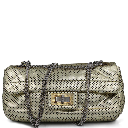 Chanel 2.55 golden perforated leather bag