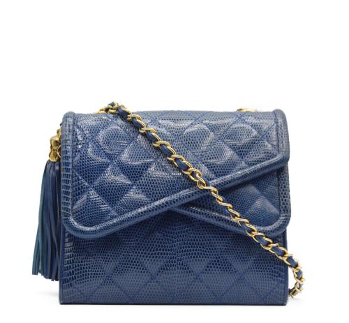 Chanel 90's blue lizard bag