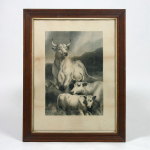 A pair of 19th century prints in oak frames Red Deer at Chilingham and Wild Cattle