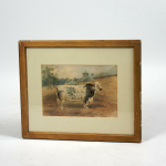 Two watercolours portraits of a cow Heydon Rose 1893 and a bull New Year's Gift 1892