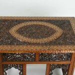 An Indian 19th century hardwood folding occasional table