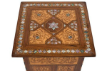 A near Eastern rosewood marquetry and mother of pearl inlaid square occasional table
