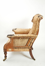 19th century armchair with lewty's patent castors