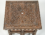 Square low inlaid indian hoshiarpur table, circa 1900