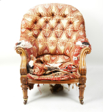 19th century oak upholstered armchair by Johnston & Jeans, London